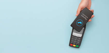 Contactless payment with smart phone. Mobile banking concept