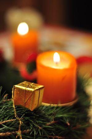 Christmas candles on Adventkranz Stock Photo