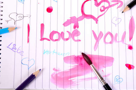 paint brushes paint pens love heart colorful Stock Photo - 10700763
