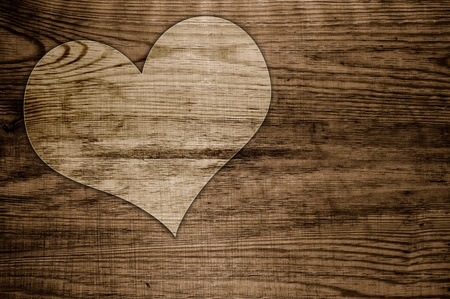 Heart old wood background photo