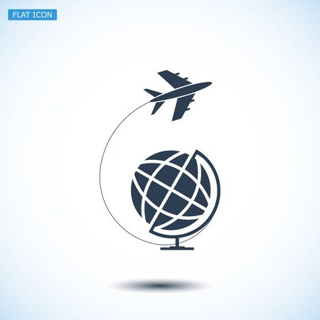 eps vector icon: Globe and plane travel icon, vector best flat icon, EPS