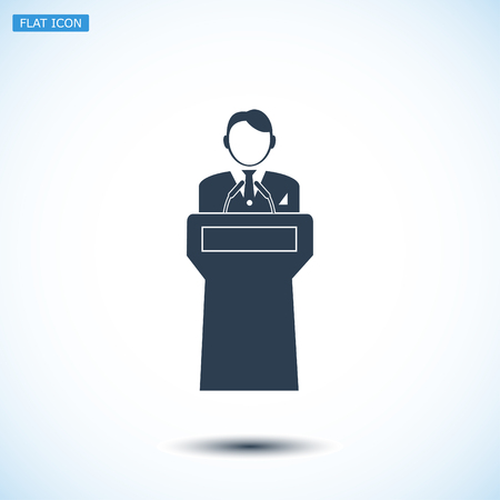 Speaker stands behind the podium, vector best flat icon, EPS Illustration