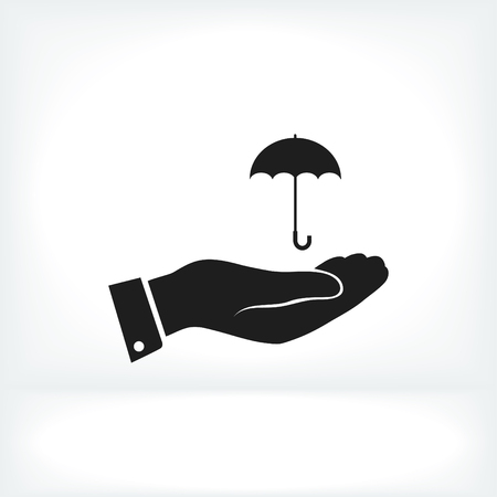 nylon: umbrella with hand icon, vector best flat icon, Illustration