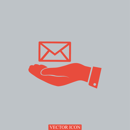 envelope icon in hand, vector best flat icon