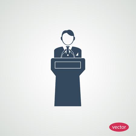 hustings: Speaker stands behind the podium
