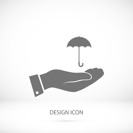 nylon: umbrella with hand icon, vector best flat icon