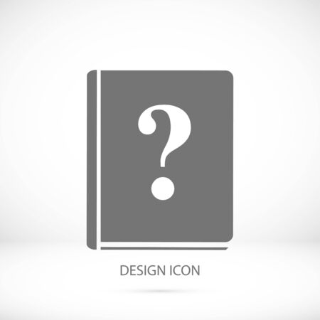 best book: book and a question mark icon, vector best flat icon