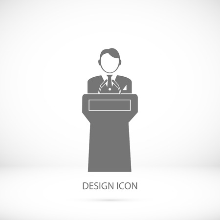 Speaker stands behind the podium, vector best flat icon,