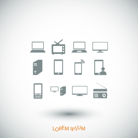tv tower: Communication device icons, vector best flat icon