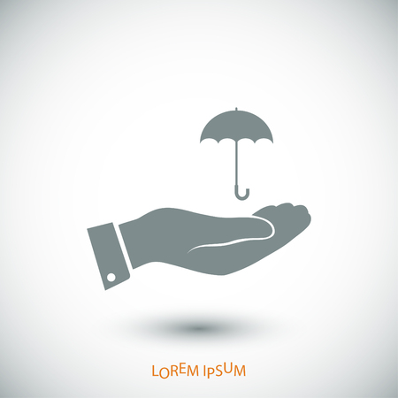 umbrella with hand icon, vector best flat icon