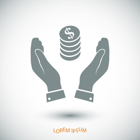 Pictograph of money in hand icon, vector best flat icon Illustration