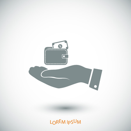 Wallet in hand icon, vector best flat icon