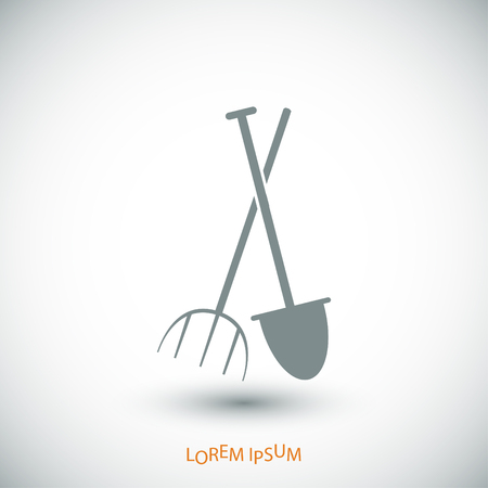 Garden fork, garden shovel icon, vector best flat icon Illustration
