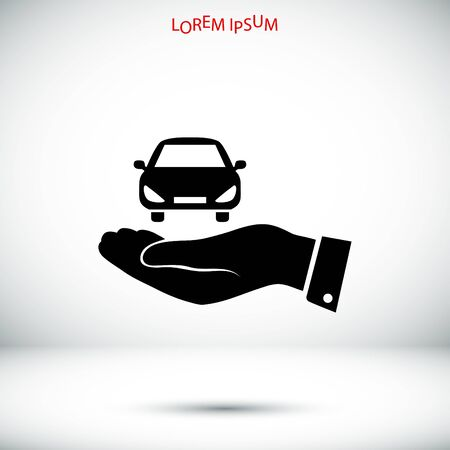 Pictograph of car icon in hand, vector best flat icon,