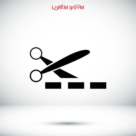 scissors cutting paper: scissors icon, vector best flat icon, Illustration