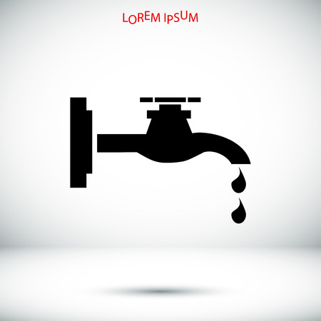 waterworks: Faucet icon, vector best flat icon