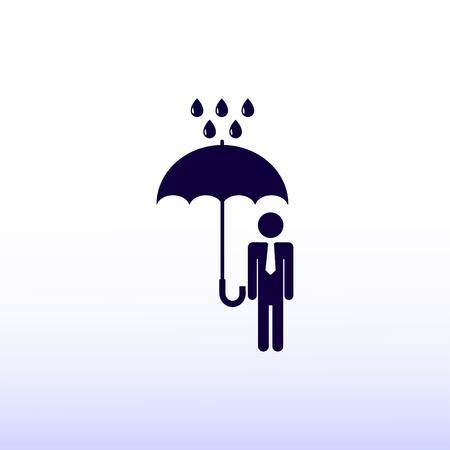 shielding: a man with an umbrella in the rain icon