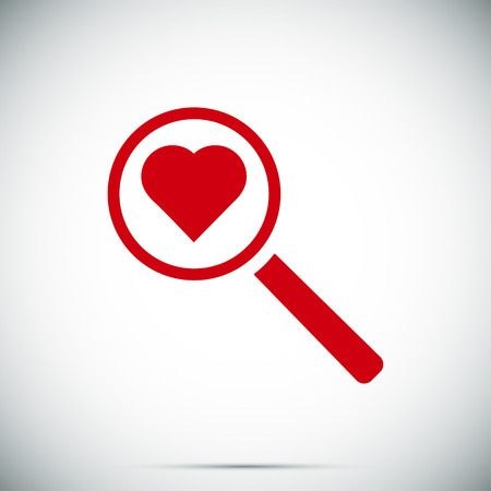 focus: heart search icon, vector best flat icon