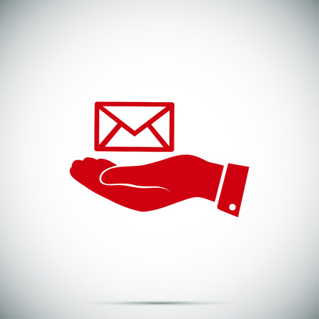 correspondence: envelope icon in hand, vector best flat icon