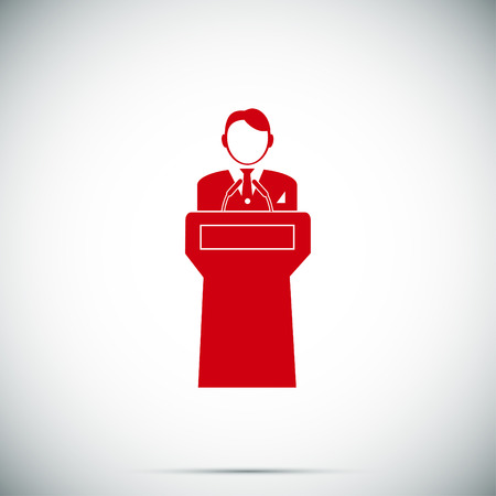 hustings: Speaker stands behind the podium, vector best flat icon