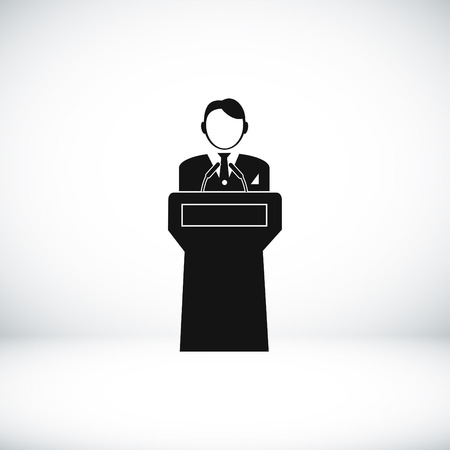dealings: Speaker stands behind the podium, vector best flat icon