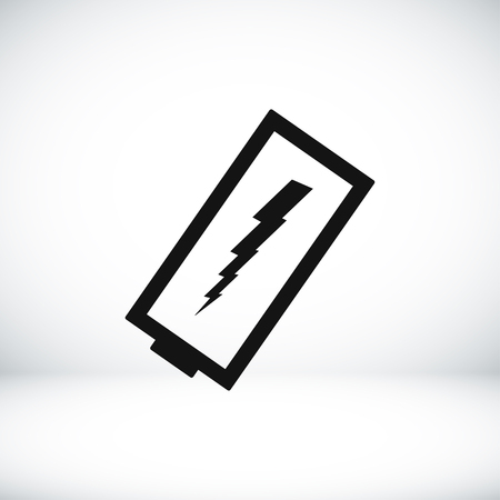 amperage: discharged battery icon, vector best flat icon, EPS