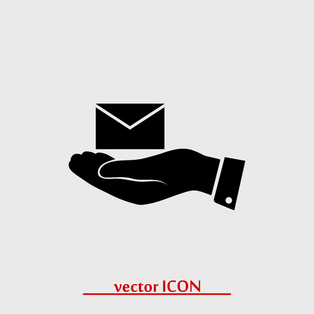 email in hand icon, vector best flat icon Illustration