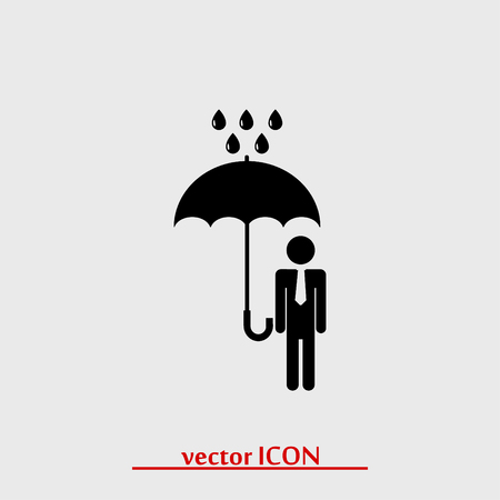 hid: a man with an umbrella in the rain icon, vector best flat icon