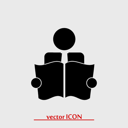 reader: Book Reader Sign Icon, vector best flat icon