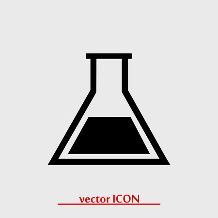 drug discovery: laboratory glass icon, vector best flat icon