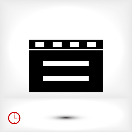 clicker: cinema clapper icon, vector best flat icon, EPS