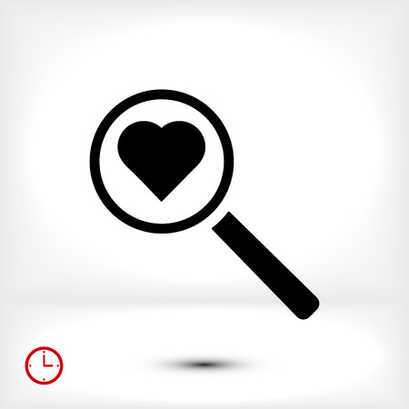 heart search icon, vector best flat icon, EPS