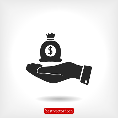 Pictograph of money in hand, vector best flat icon, EPS Illustration