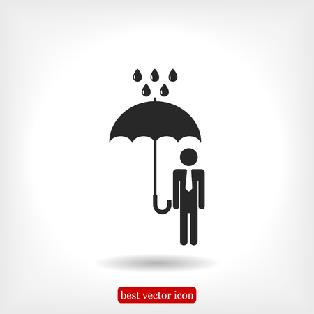 a man with an umbrella in the rain icon, vector best flat icon, EPS Illustration
