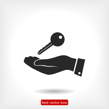 Pictograph of key icon in hand, vector best flat icon, EPS