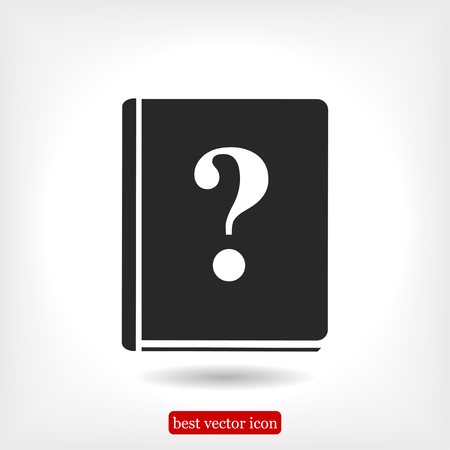 open magazine: book and a question mark icon, vector best flat icon, EPS