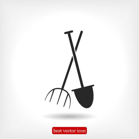Garden fork, garden shovel icon, vector best flat icon, EPS Illustration
