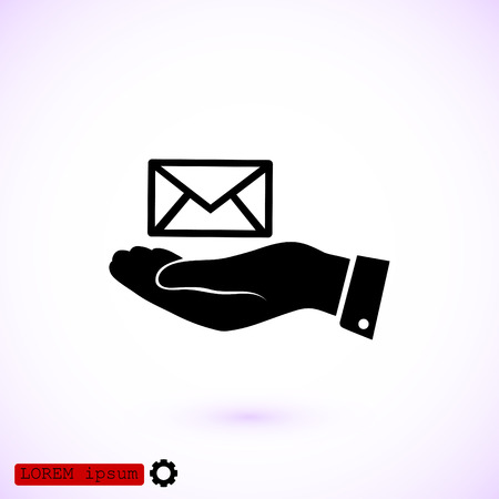 correspondence: Envelope icon in hand, vector best flat icon.