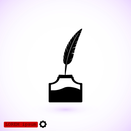 ink pot: Feather and ink bottle icon, best flat icon.