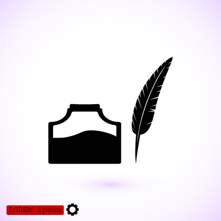 poet: feather and ink bottle icon, best flat icon EPS