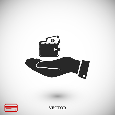 Wallet in hand icon, vector best flat icon, EPS