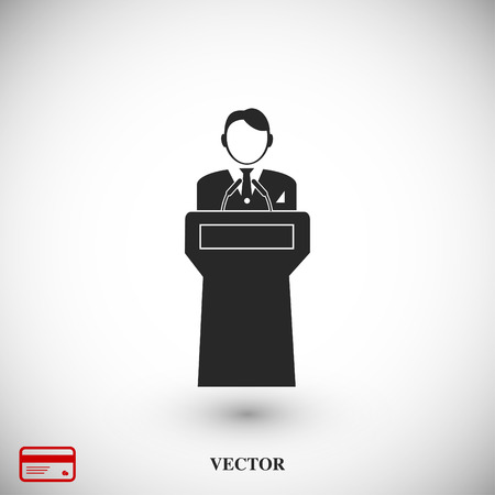 statesman: Speaker stands behind the podium, vector best flat icon, EPS Illustration