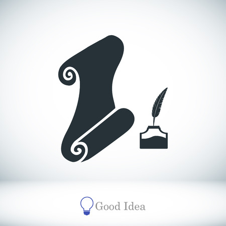 Paper scroll with feather pen icon, best flat icon EPS