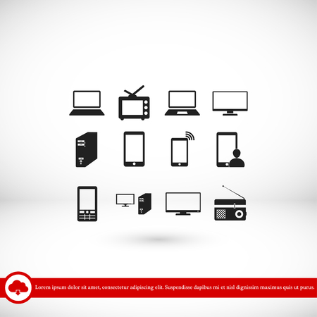 tv tower: Communication device icons, vector best flat icon, EPS