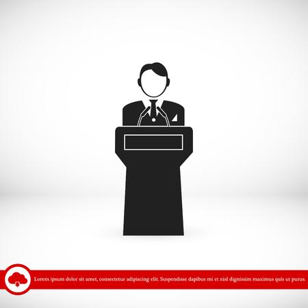 hustings: Speaker stands behind the podium, vector best flat icon, EPS Illustration