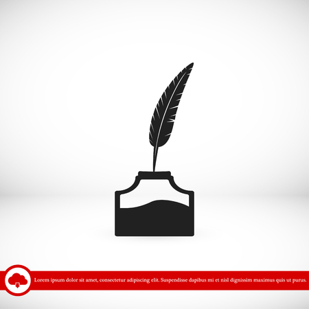 feather and ink bottle icon, best flat icon EPS