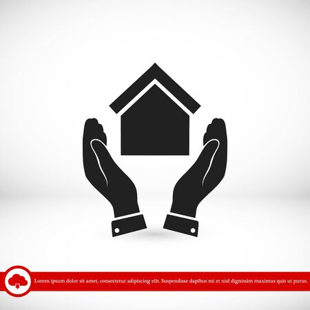 house construction: hand and house icon, vector best flat icon,EPS