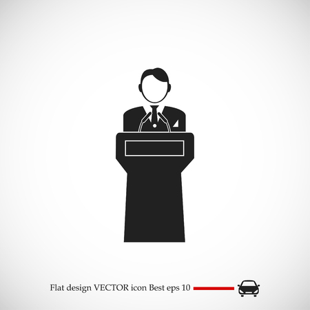Speaker stands behind the podium, vector best flat icon.