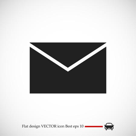 global communication: black envelope icon, vector best flat icon, EPS