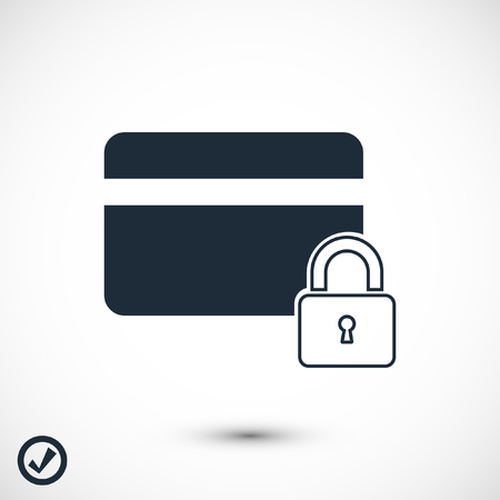 Bank credit card icon, stock vector illustration flat design style